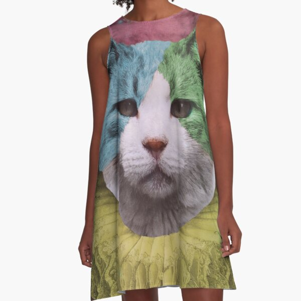 Harlequin Kitty as the Fool Card A-Line Dress