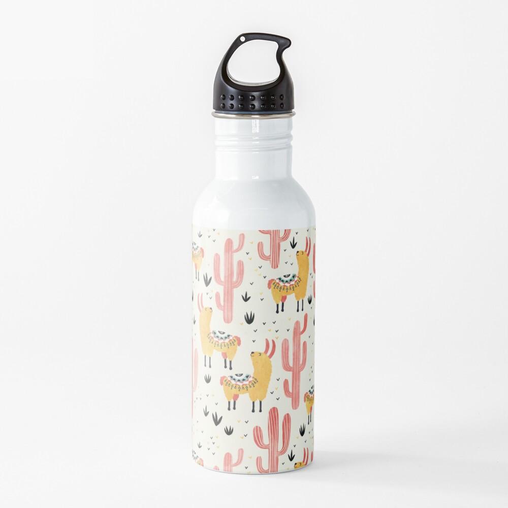 Yellow Llamas Red Cacti Water Bottle