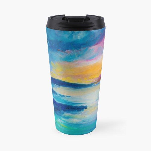 Vibrant Blue Sunset Travel Mug