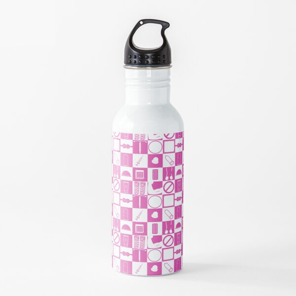 Contraception Checkboard- Pink Water Bottle