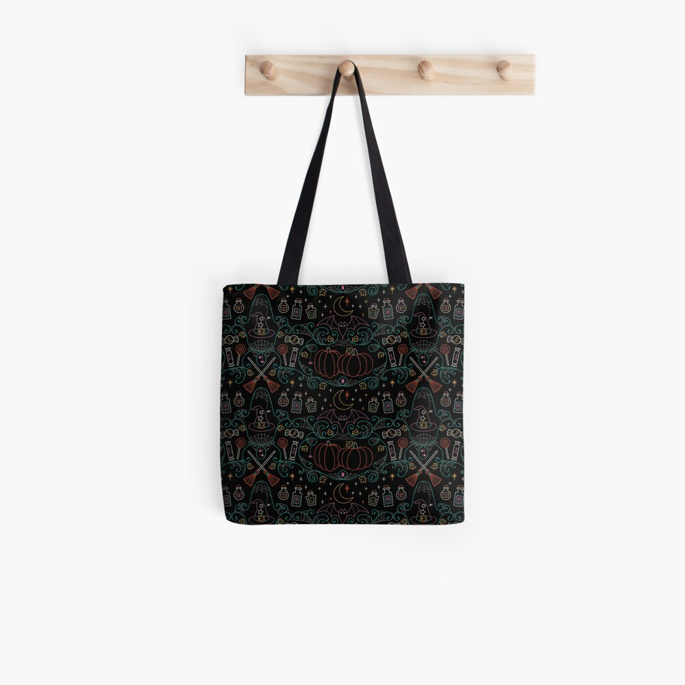 Folk Halloween Embroidery Witchy Webs Tote Bag