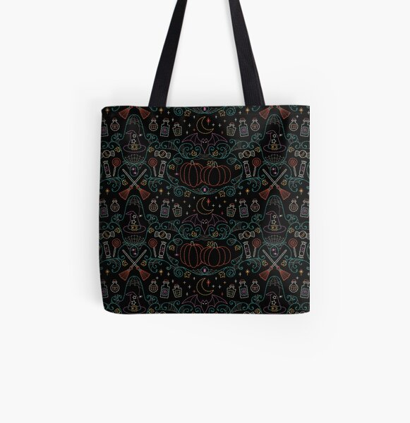 Folk Halloween Embroidery Witchy Webs All Over Print Tote Bag