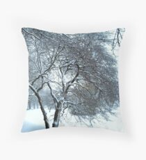 Snow coated branches Throw Pillow
