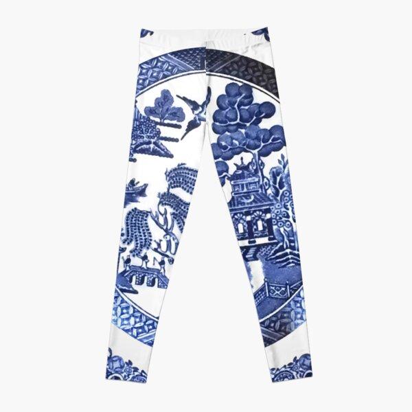 Vintage retro fashion pattern tights delft  blue