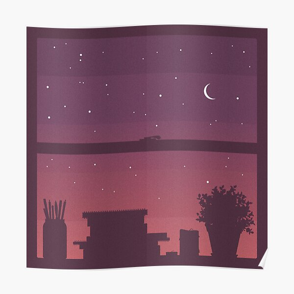 Sunset Window Silhouette Poster