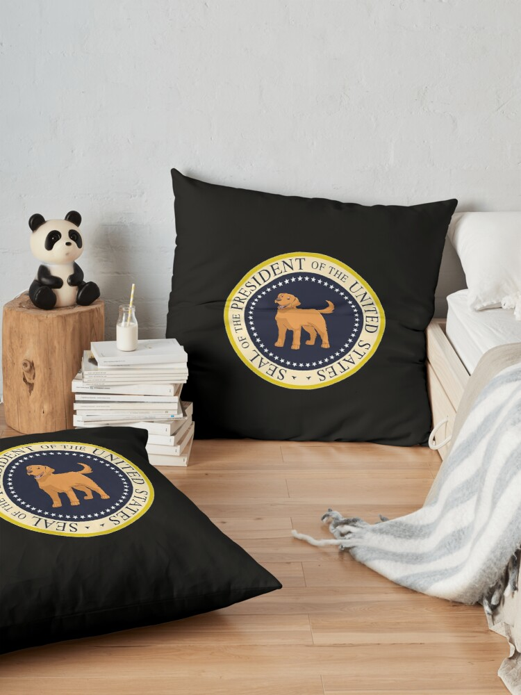 Alternate view of My  Golden Retriever President Of The United States - Funny Golden Retriever Mom Dad Gift Seal of the President 2020 Floor Pillow