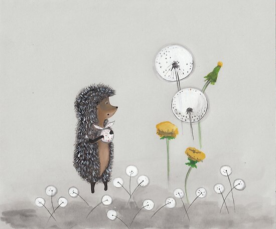 Nursery art - Hedgehog in the Fog by Marikohandemade