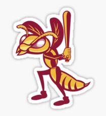 Hornet Baseball Player Batting Isolated Retro Sticker