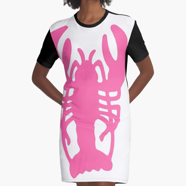 Pink Lobster Graphic T-Shirt Dress
