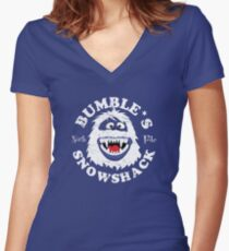 Bumble's Snowshack Women's Fitted V-Neck T-Shirt