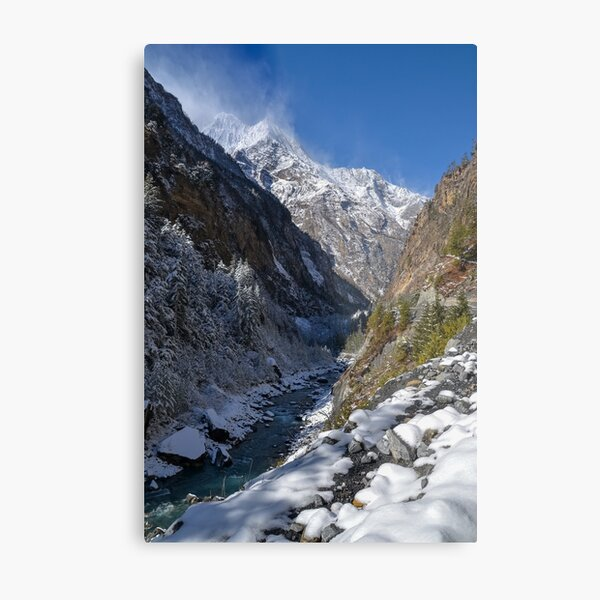 Snow covered valley and river Metal Print