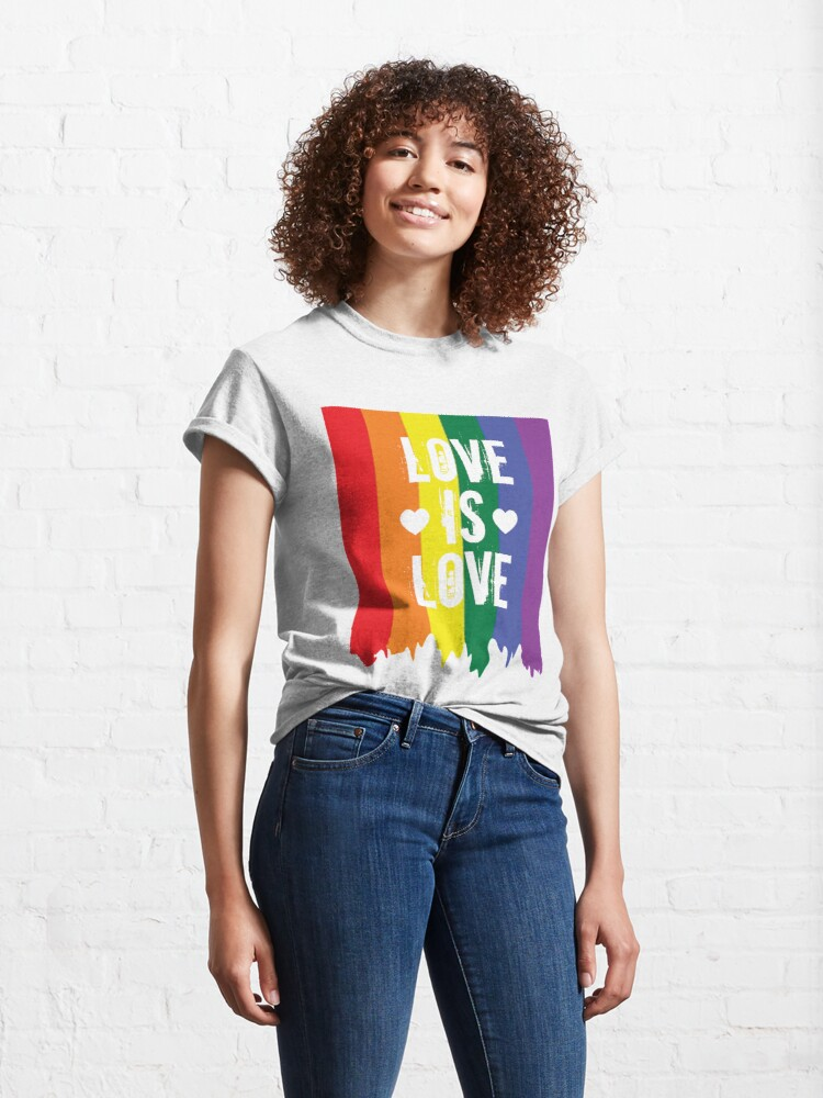 Alternate view of Gay Pride Rainbow Paint Love Is Love Flag Classic T-Shirt