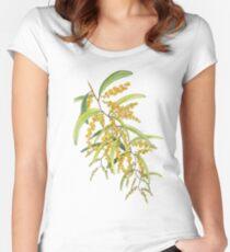 Australian Wattle Flower, Illustration Fitted Scoop T-Shirt