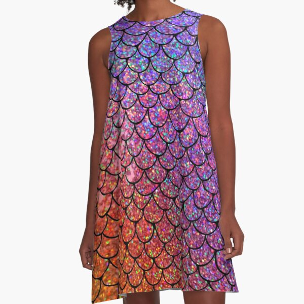 Colorful Glitter Mermaid Scales A-Line Dress