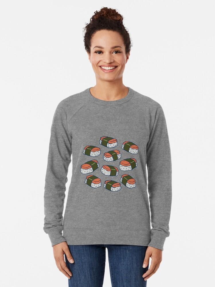 Alternate view of Spam Musubi Sushi Pattern Lightweight Sweatshirt