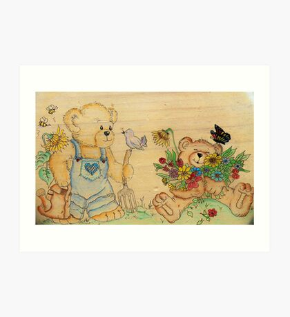 Garden Teddies Art Print