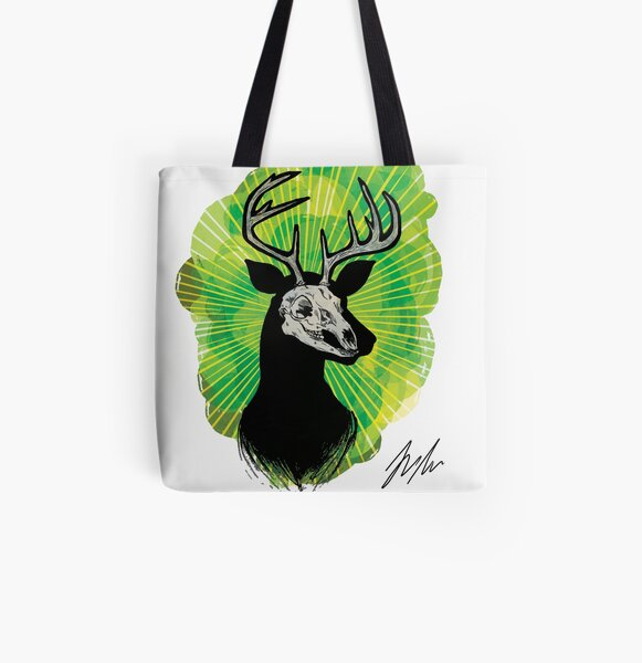 Stag Skull All Over Print Tote Bag