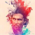 Matthew McConaughey Ink Watercolor Splash Portrait True Detective by Pepe Psyche