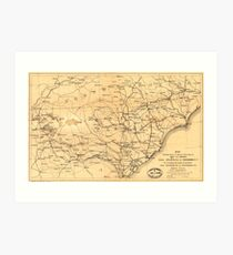 Civil War Sherman's March from Atlanta to Goldsboro Map Art Print