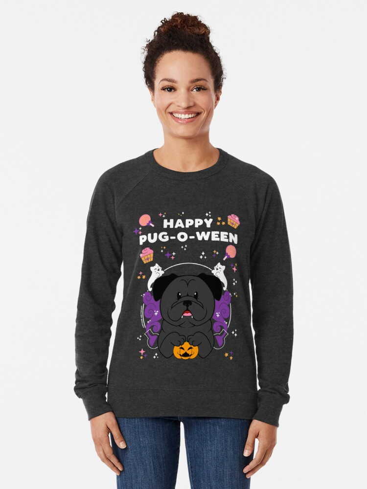 Alternate view of Licorice the Black Pug Lightweight Sweatshirt
