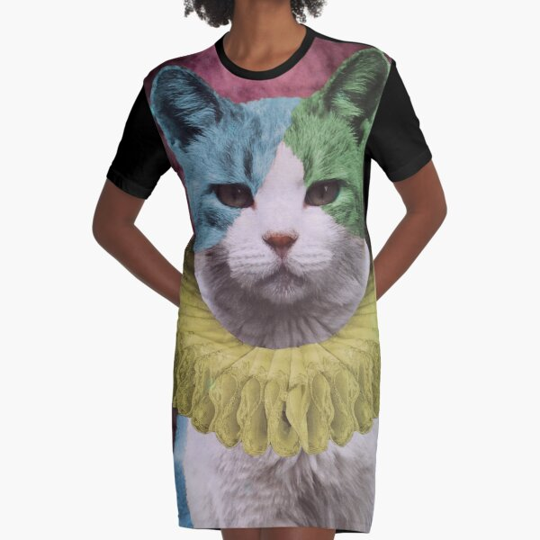 Harlequin Kitty as the Fool Card Graphic T-Shirt Dress