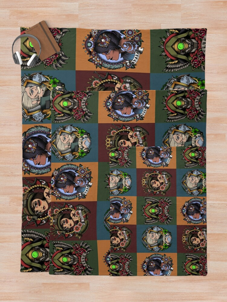 Alternate view of 1920's Tattoo Style Borderlands 3 Squad Throw Blanket