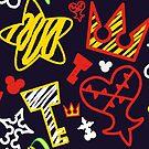 Kingdom Hearts crayon style pattern - bright by gysahlgreens