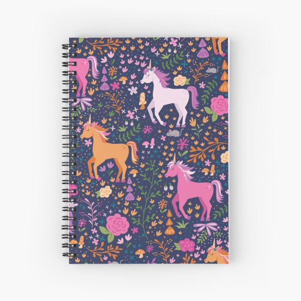 Unicorns in the Flower Garden Spiral Notebook
