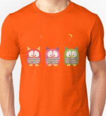 Three Owls Fabric Collage T-Shirt