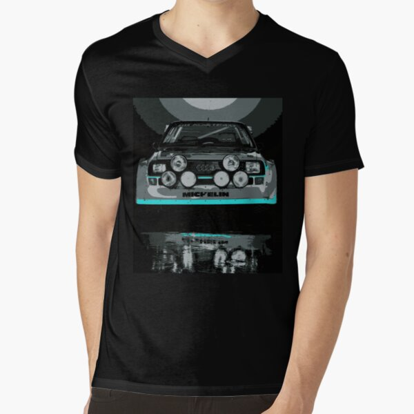 Audi Quattro S1 - GROUP B - RALLY - RACE CAR V-Neck T-Shirt