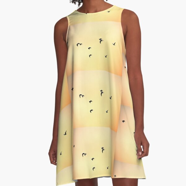 Seagulls on the Fire Sunrise  A-Line Dress