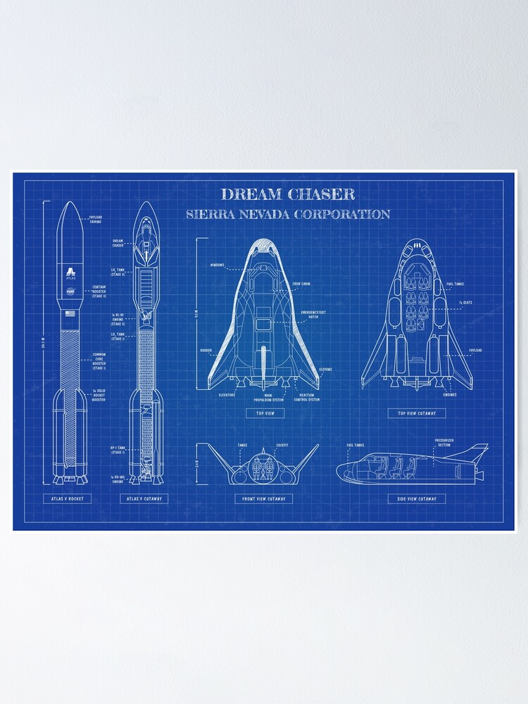 Alternate view of Dream Chaser Space System - Blueprint Poster