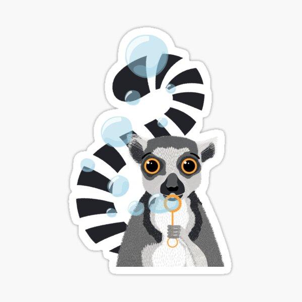 Ringtail Lemur Animal Portrait Blowing Bubbles Sticker