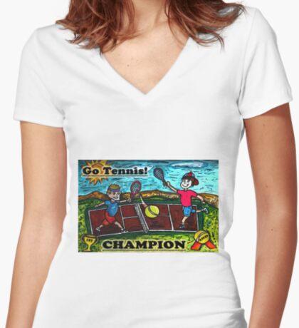 Go Tennis Women's Fitted V-Neck T-Shirt