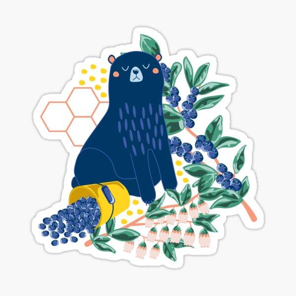 A Naughty Bear Eats Blueberries Sticker
