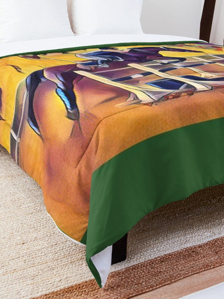 Alternate view of Colorful Equestrian Horse Jumping Comforter