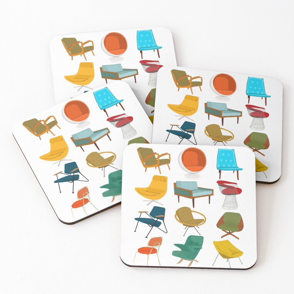 Mid Century Modern Chair Collection Coasters (Set of 4)