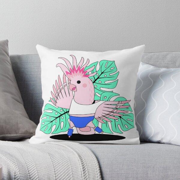 80's Aerobic Exercising Cockatoo Throw Pillow