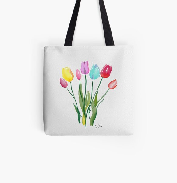 Tulips Watercolor All Over Print Tote Bag