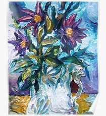 Flowers Against a Frozen Windowpane Poster