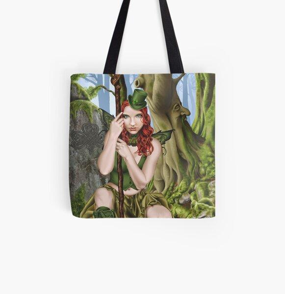 Irish Green Fairy Leprechaun All Over Print Tote Bag