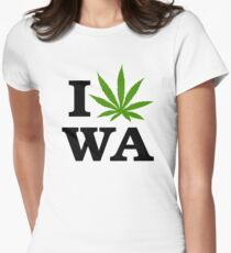 I Marijuana Love Washington Cannabis Womens Fitted T-Shirt