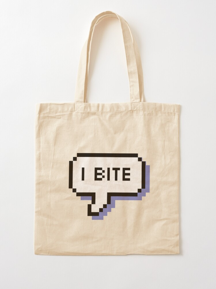 Alternate view of I Bite - Pixel Speech Bubble (Blue) Tote Bag