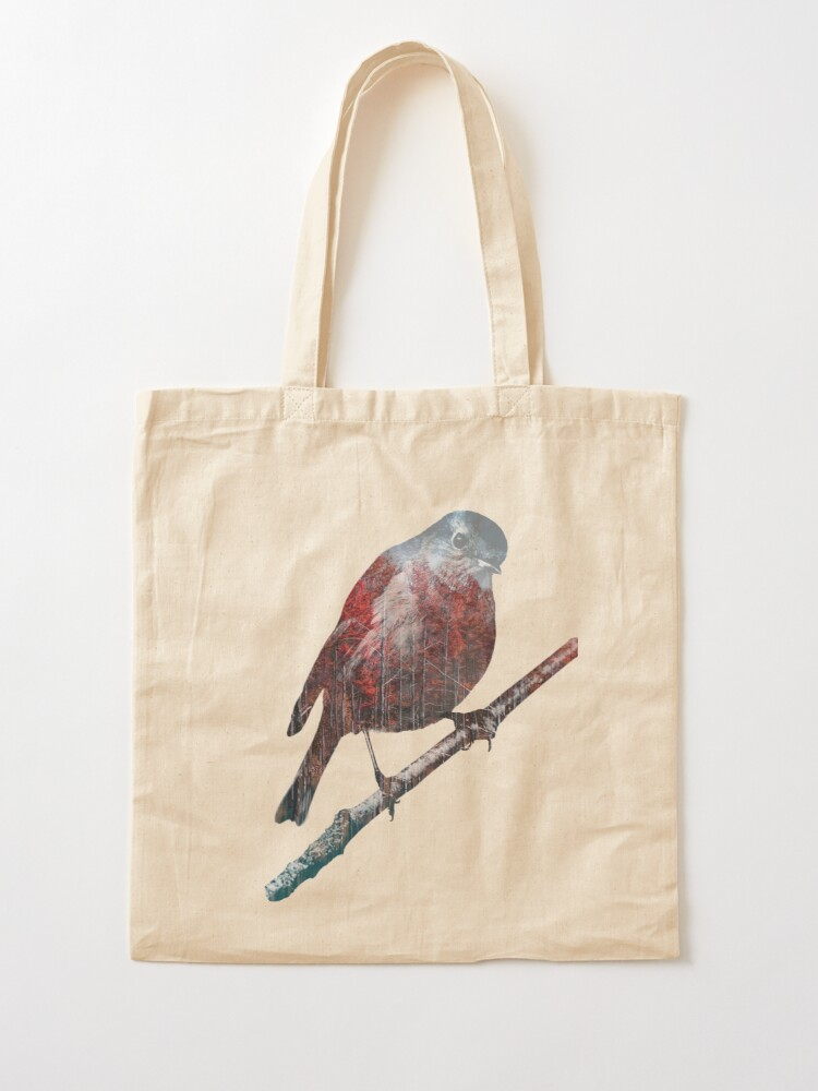 Alternate view of Forest Robin on a Branch  Tote Bag