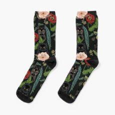 Botanical and Black Cats Sock