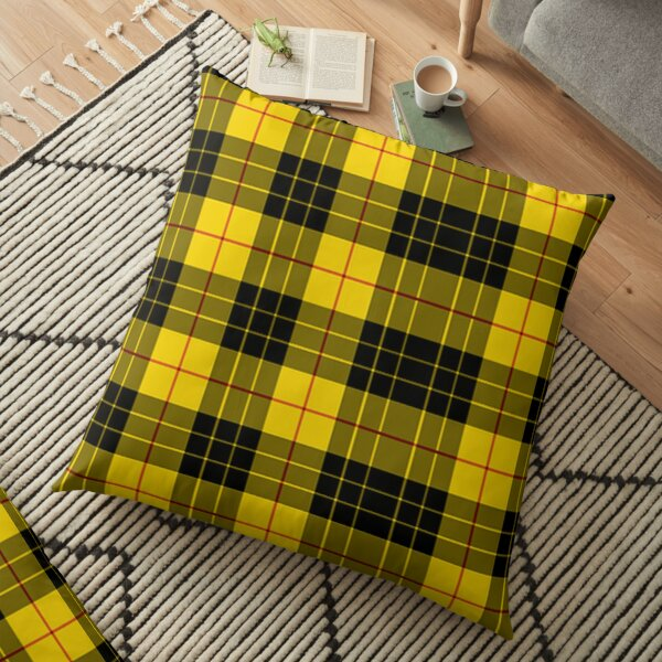 Yellow Plaid Phone Case Floor Pillow