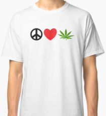 Peace Love Marijuana Classic T-Shirt