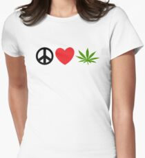 Peace Love Marijuana Womens Fitted T-Shirt