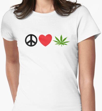 Peace Love Marijuana Womens Fitted T-Shirt