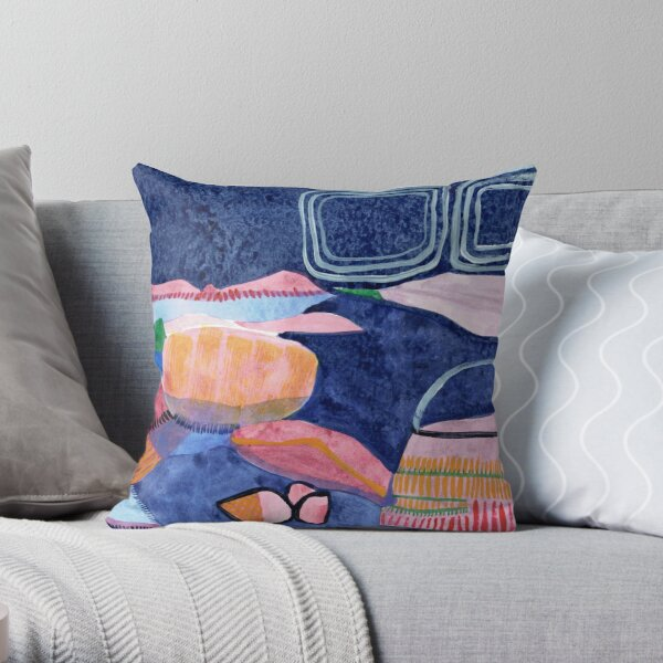 Rocky Beach Watercolour Throw Pillow
